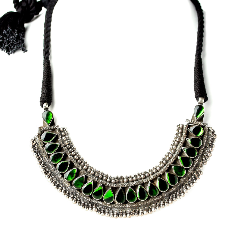 Emerald Antique Green Glass and Silver Choker Necklace ONE OF A KIND