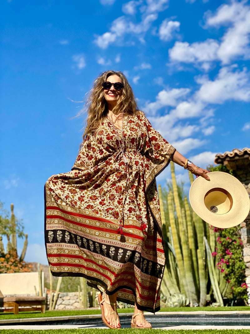Farfalla Maxi Kaftan Dress All Natural Dyes LIMITED EDITION ONLY THREE MADE