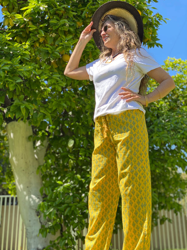 Marigold Prickly Pax Cactus Cotton Lounge Pants