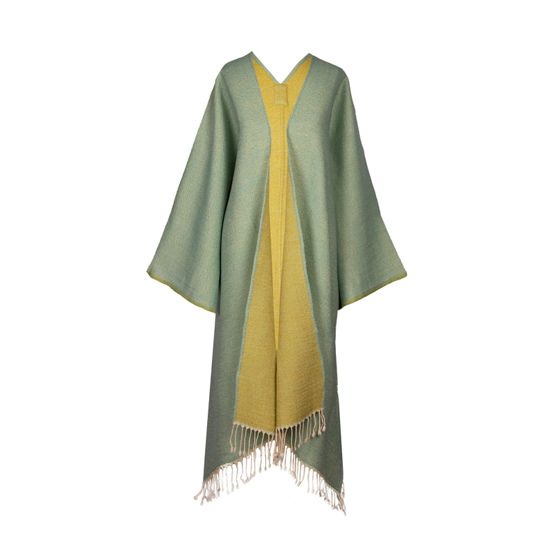 Aqua-Lime Boiled Wool Kimono Coat Reversible SUPER SOFT