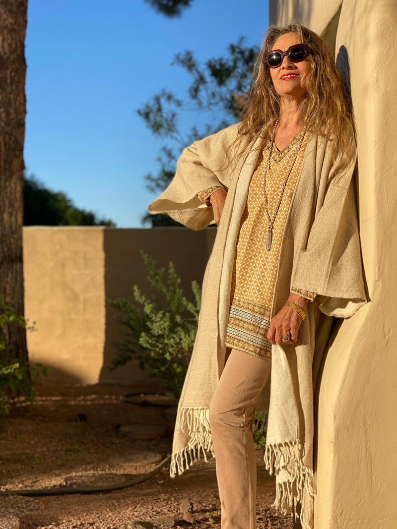Mykonos Gold Asymmetrical Tunic Available in Small and Medium