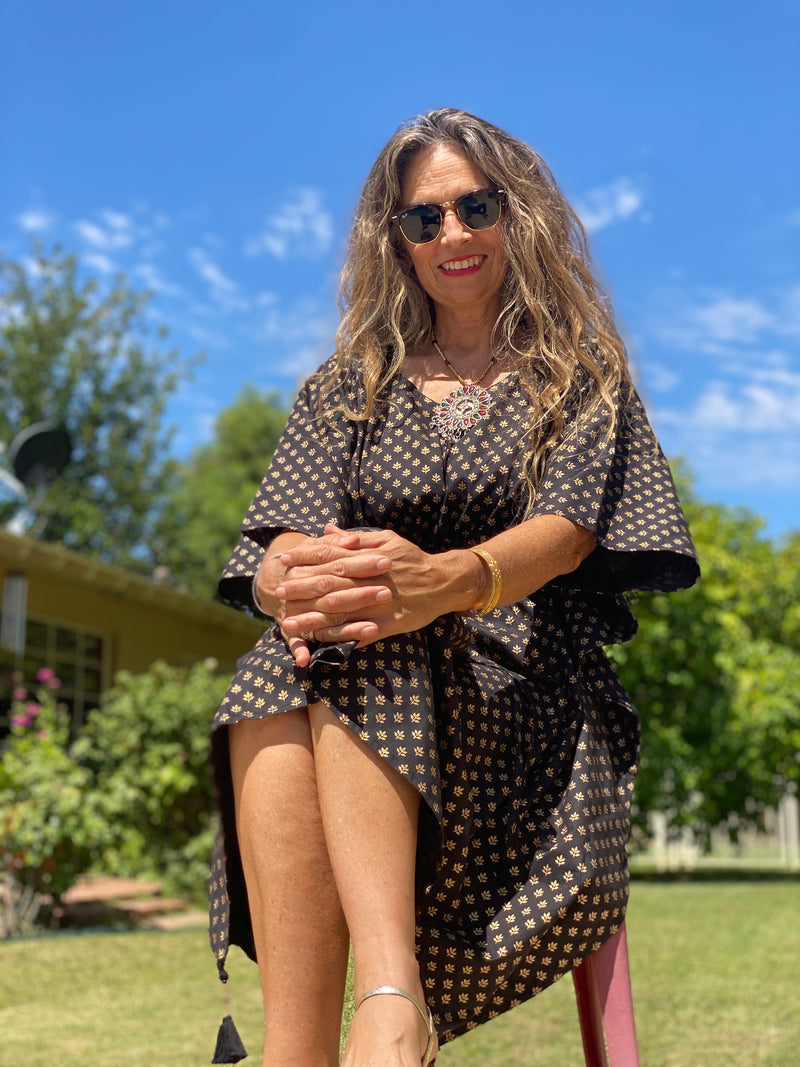 Diana Midi Kaftan Dress CLASSIC BLACK AND GOLD!