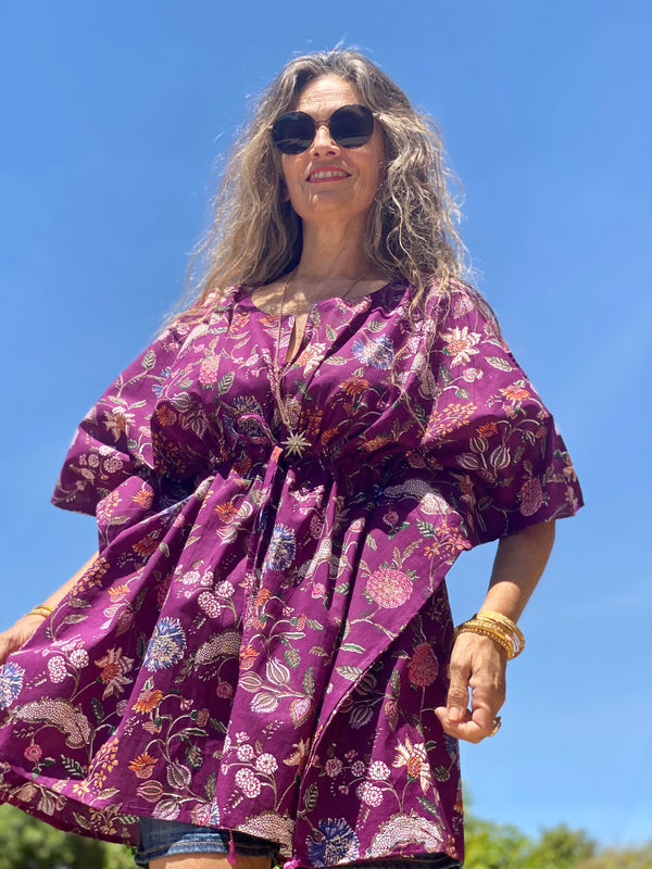 Plum Floreale Short Kaftan Dress BACK IN STOCK!