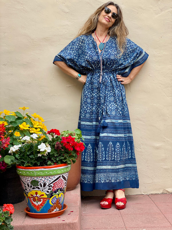 Bellissima Blue Maxi Dress Made with Natural Indigo Dye