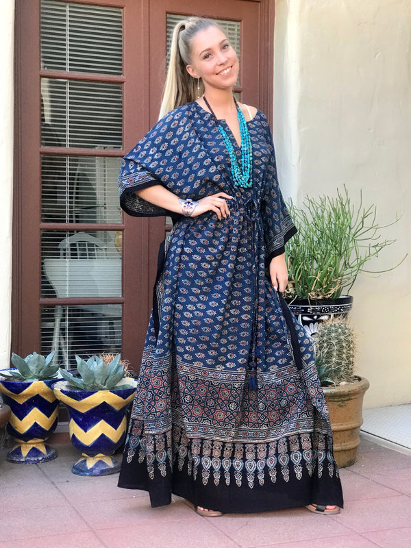 Judy Natural Dye Indigo Maxi Kaftan Dress