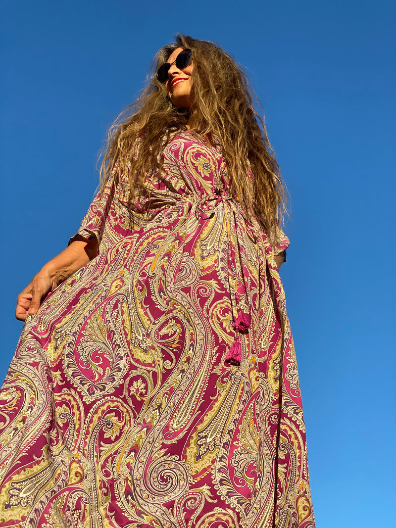 Purple Principessa Paisley Italian Silk Maxi Dress