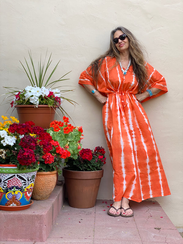 Perfetto Persimmon Hand Made Tie Dye Maxi Kaftan Dress