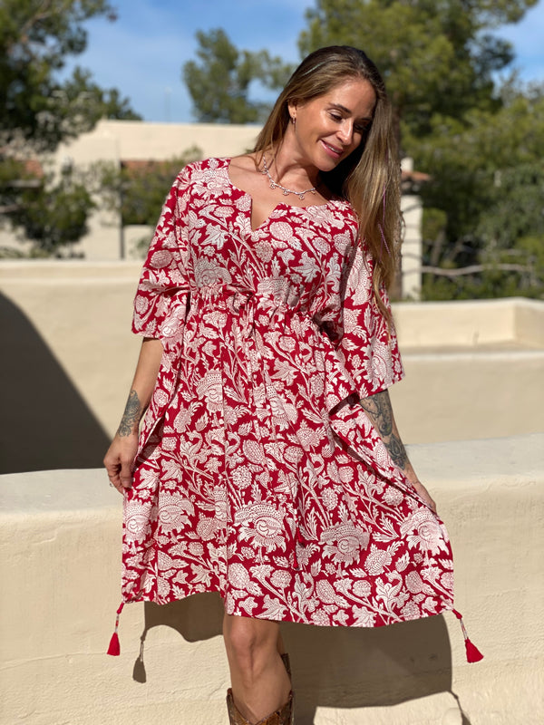 Laura Floral Midi Kaftan Dress