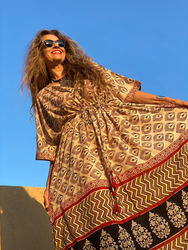 Cardinale Maxi Kaftan Dress Made with Natural Dyes ONE LEFT
