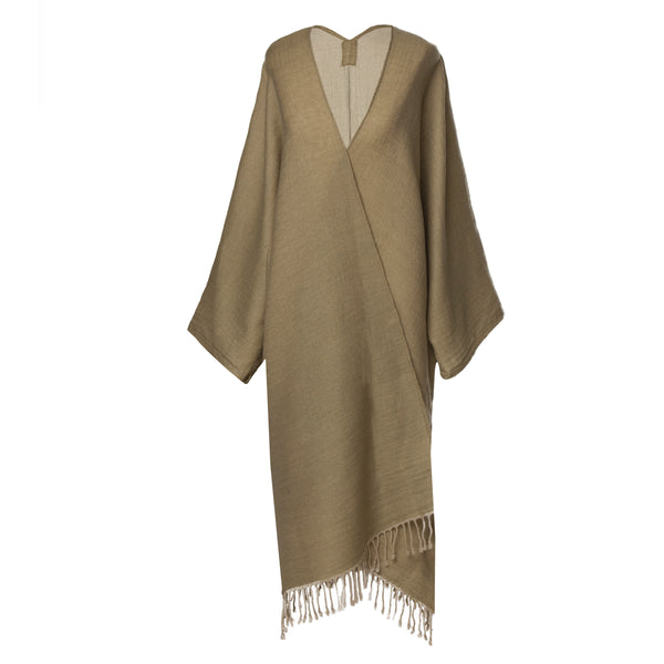 One of a Kind super soft Tan Boiled Wool Kimono coat