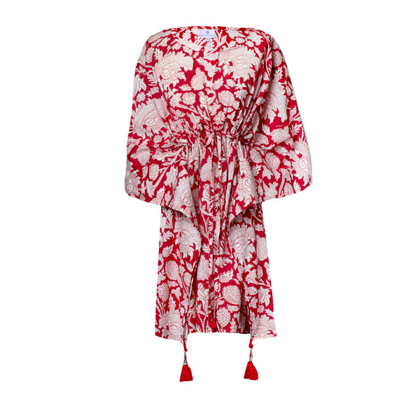 Laura Floral Short Kaftan Dress