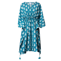 Luisa Teal Midi Kaftan Dress