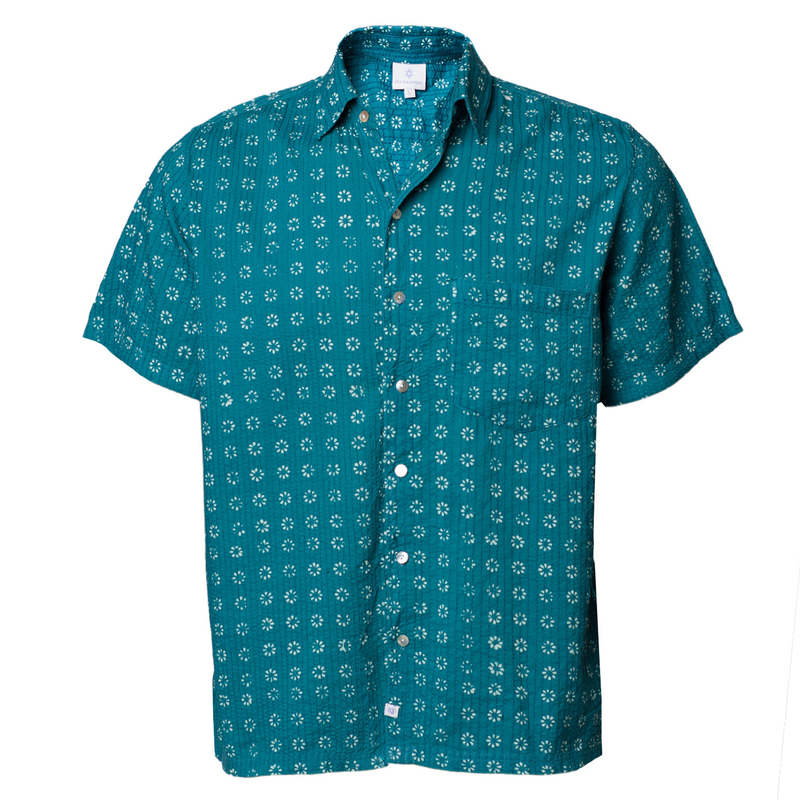 Manisha Teal Short Sleeve Men's Button UpShirt