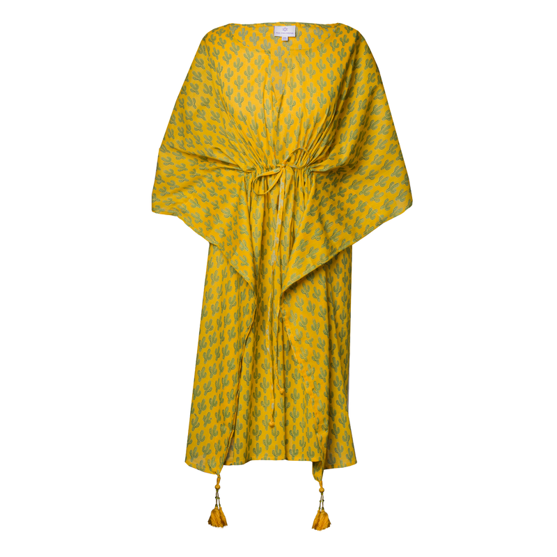 Prickly Pax Marigold Cactus Midi Kaftan Dress