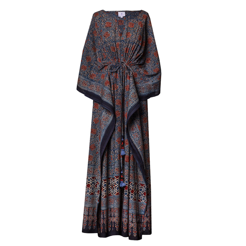 Fiore Natural Indigo Maxi Kaftan Dress One Of a Kind