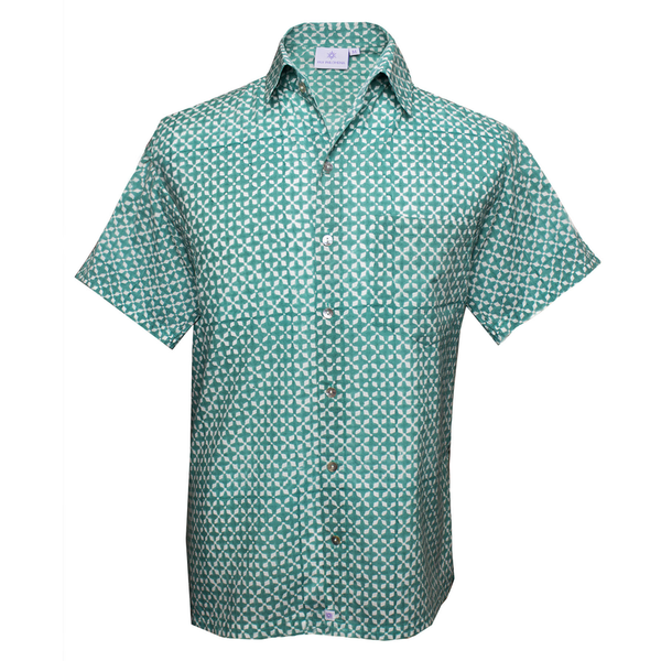 Mykonos Aqua Short Sleeve Men's Button Up Shirt