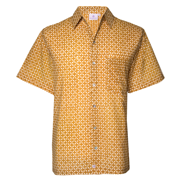 MyKonos Gold Short Sleeve Men's Button Up Shirt
