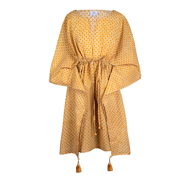 Mykonos Gold Short Kaftan Dress ONLY ONE LEFT