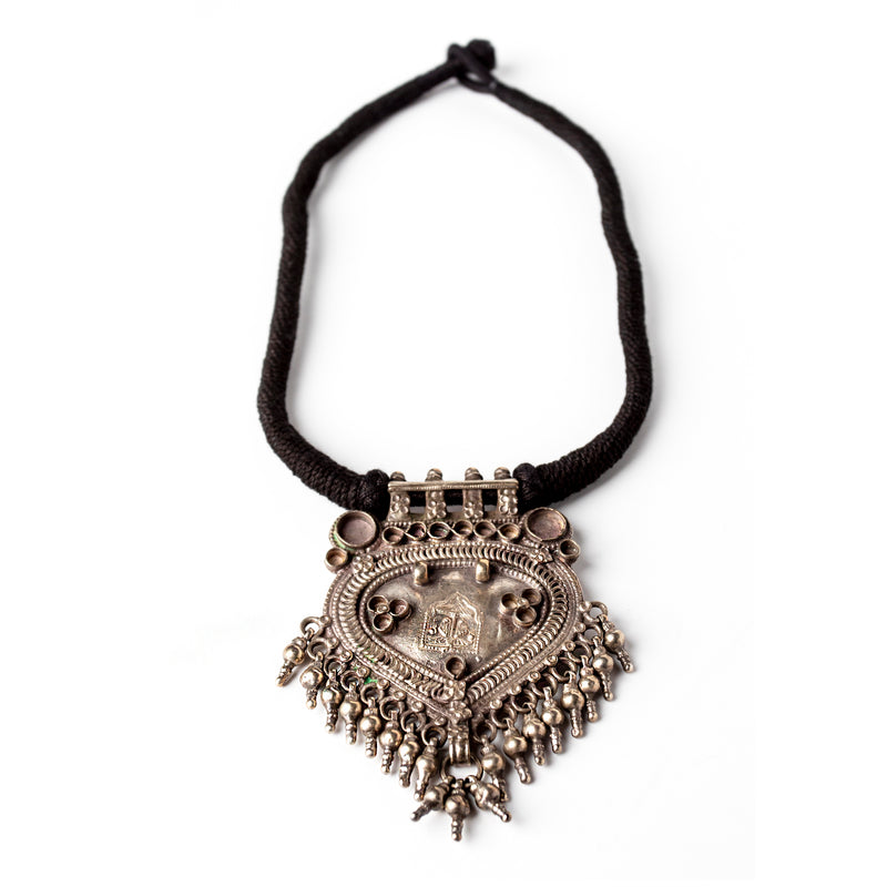 PRIYA ANTIQUE SILVER AMULET NECKLACE
