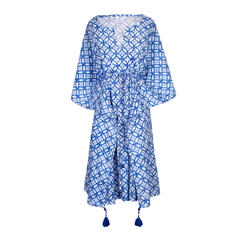 Nina Midi Kaftan Dress Perfect Blue and White