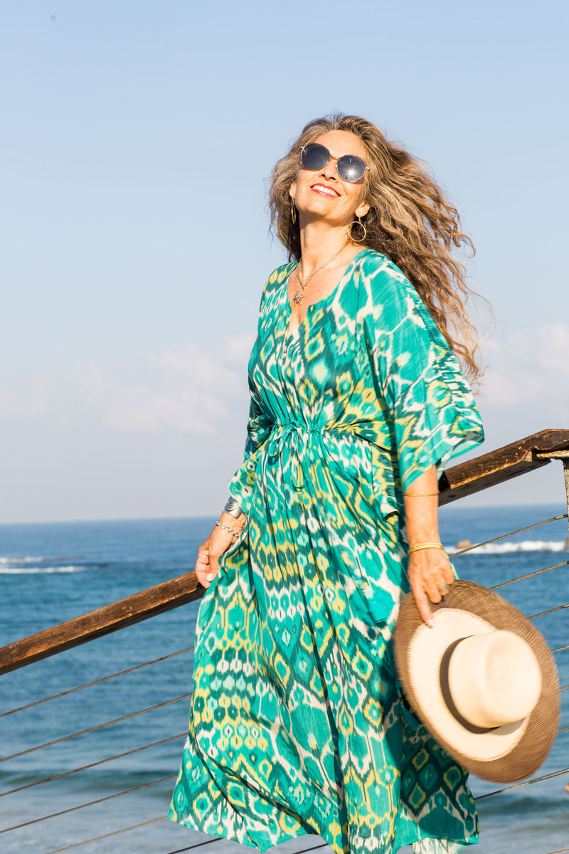 Acqua Vita Italian Silk Maxi Kaftan Dress