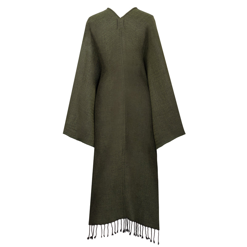 Olive Green Boiled Wool Kimono Coat REVERSIBLE