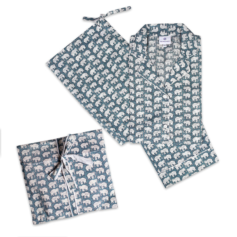 Elephant Steel Blue Long Sleeve Pajamas