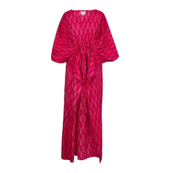 Peonia Princess Silk/Cotton Ikat Maxi Kaftan Dress ONLY ONE AVAILABLE 25% OFF DISCOUNT APPLIED AT CHECKOUT
