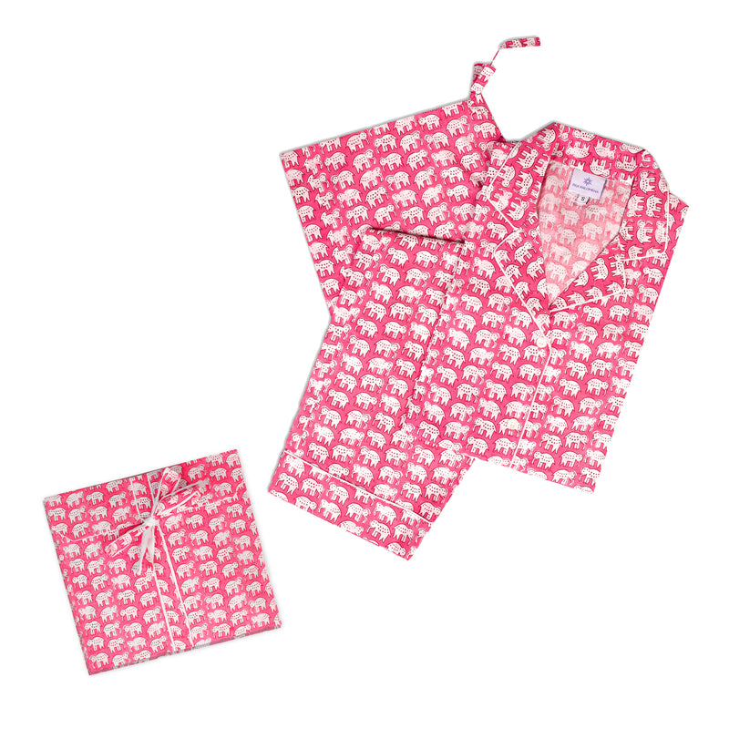 Pink Elephant Pajamas Long Sleeves