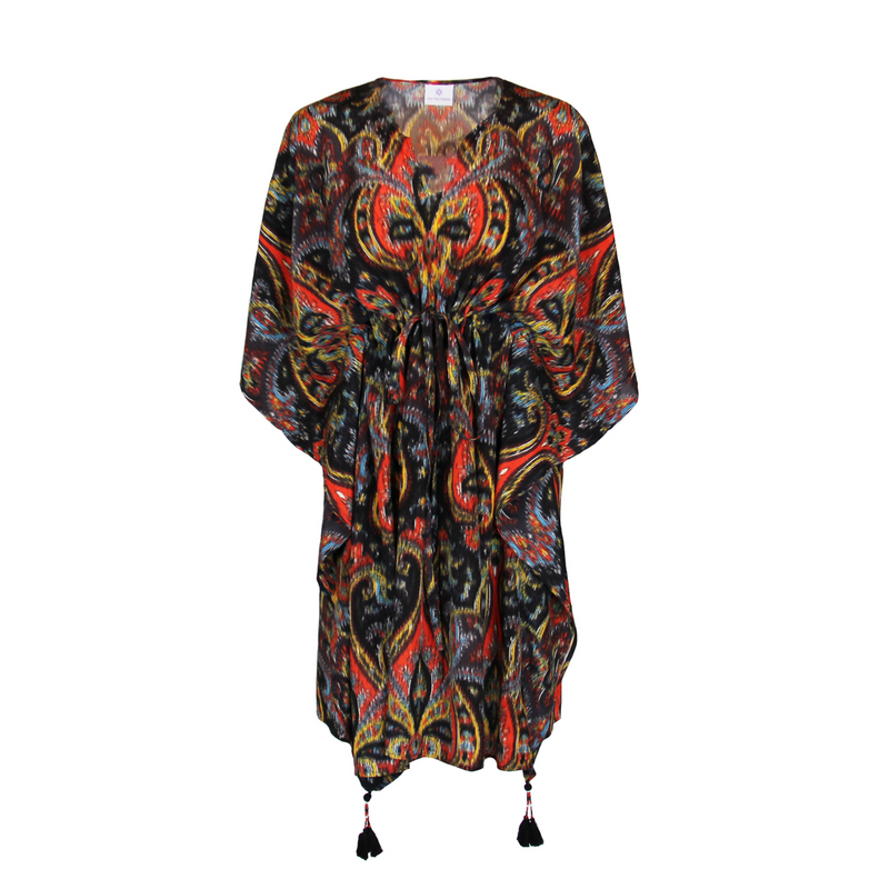 Prima Donna Paisley Italian Silk Midi Kaftan Dress