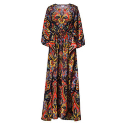 Prima Donna Paisley Italian Silk Maxi Kaftan Dress