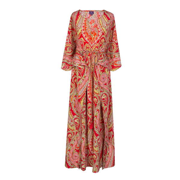 Vermillion Principessa Paisley Italian Silk Maxi Dress