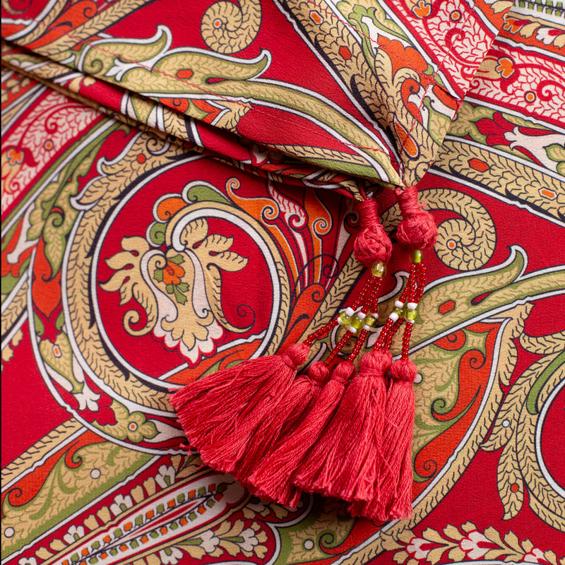 Vermillion Principessa Paisley Italian Silk Maxi Dress 25% off discount applied at checkout