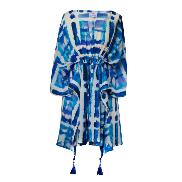 Santorini Italian Silk Tie Dye Short Kaftan Dress ONLY ONE LEFT!