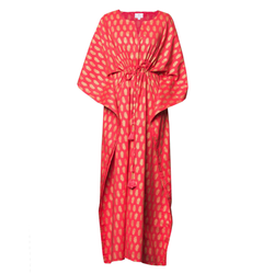 Sheba Coral Maxi Kaftan Dress