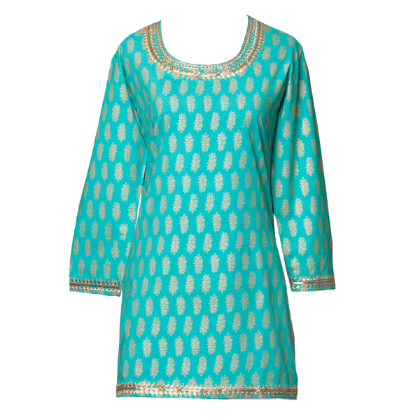 Sheba Turquoise Metallic Tunic Available in XS,S and M