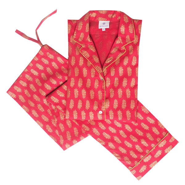 Sheba Coral Floral Pajamas ONE SIZE MEDIUM IS LEFT