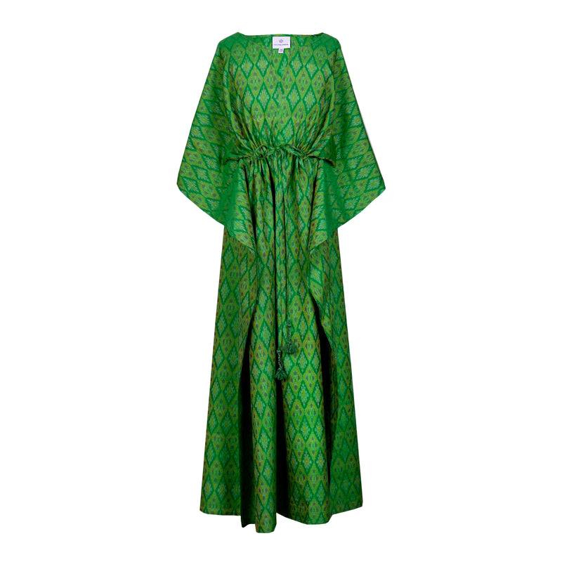Smeraldo Silk/Cotton handwoven Ikat Maxi Kaftan Dress Limited edition