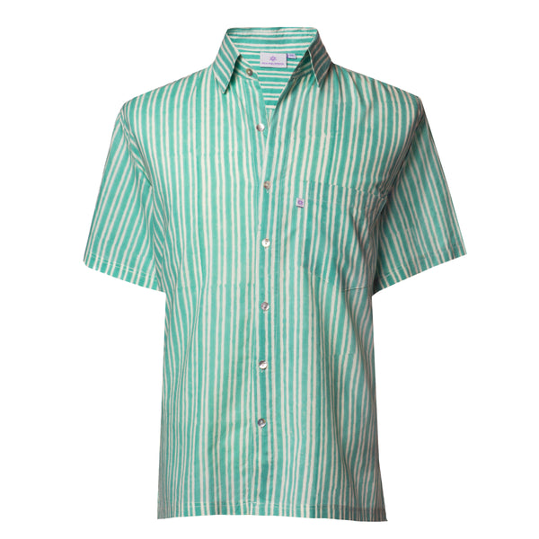 Stromboli Stripe Short Sleeve Men's Button Up Shirt
