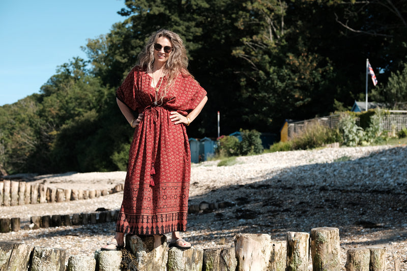 Susie Natural Dye Maxi Kaftan Dress