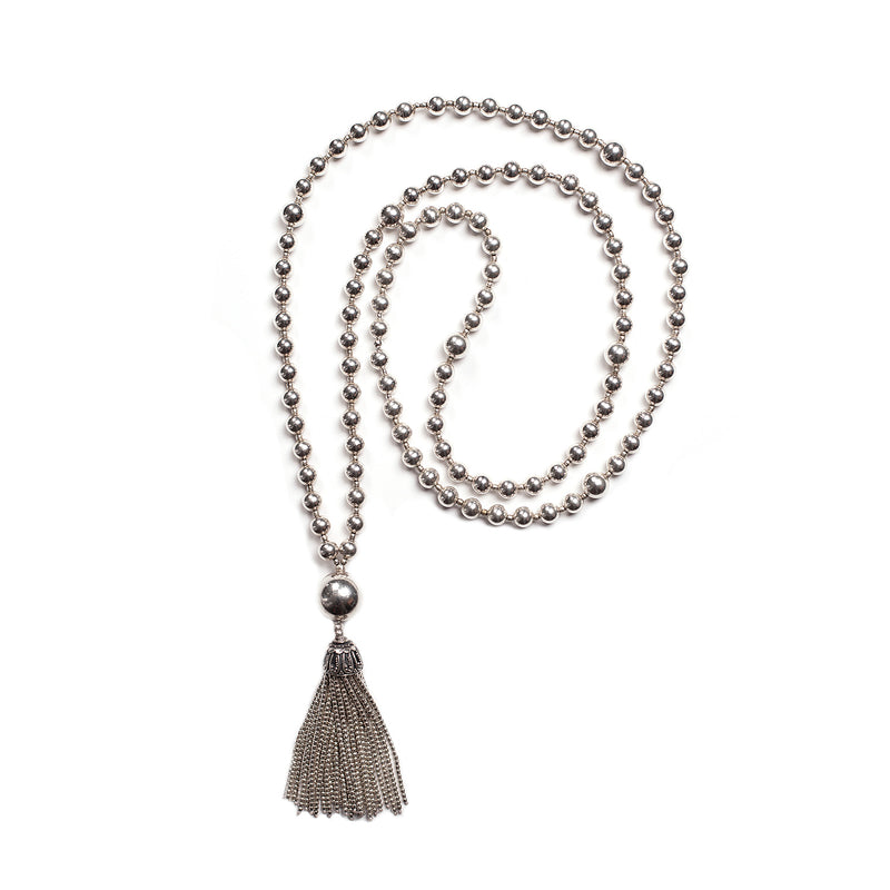 Pure Silver Mala Tassel Necklace GOES WITH EVERYTHING!