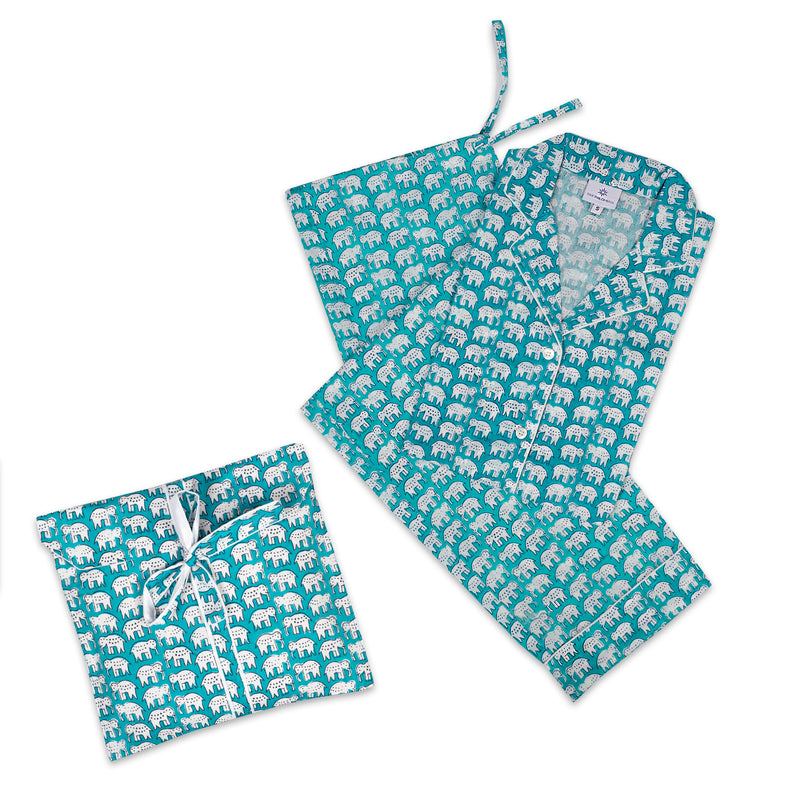 Elephant Turquoise Long Sleeve Pajamas
