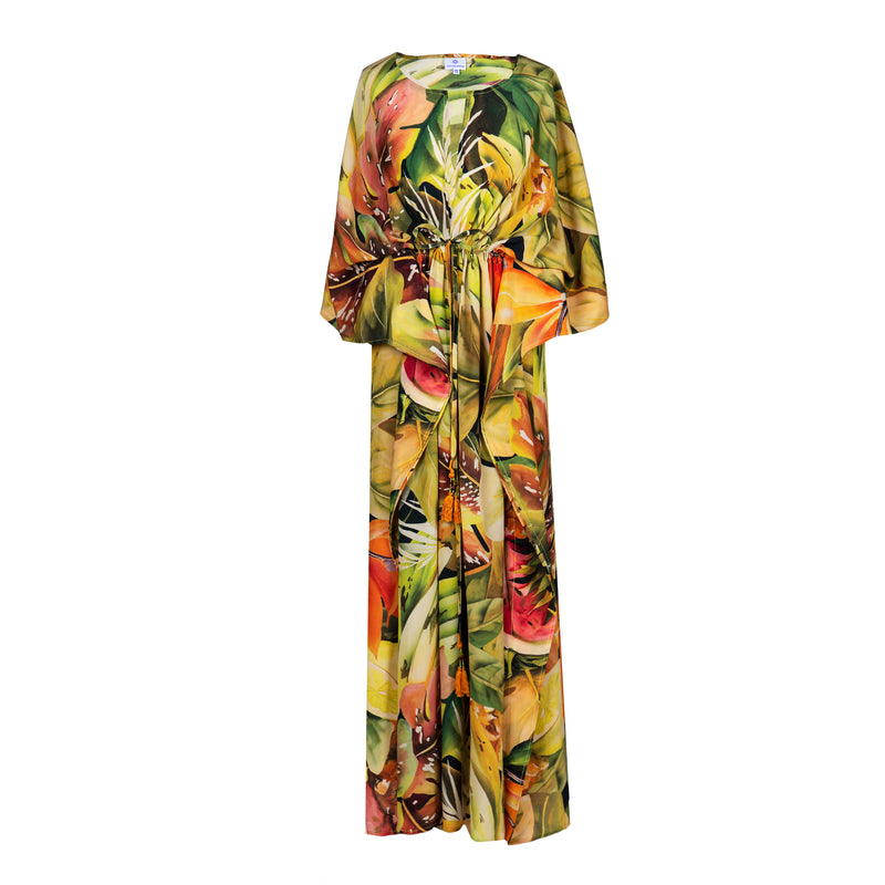 Tutti Frutti Italian Silk Maxi Kaftan Dress