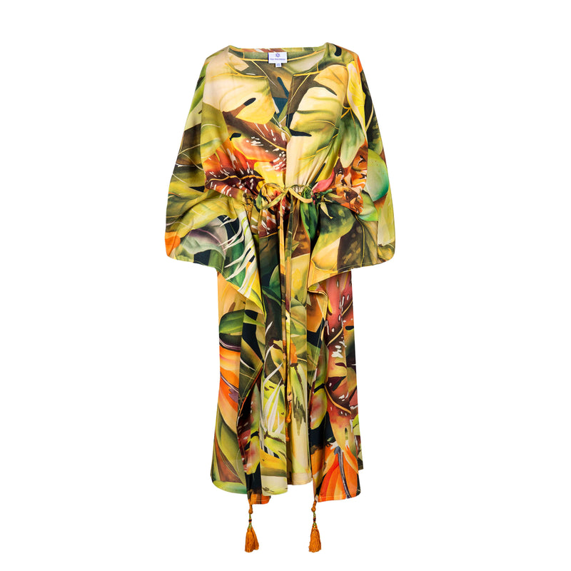 Tutti Frutti Italian Silk Midi Kaftan Dress