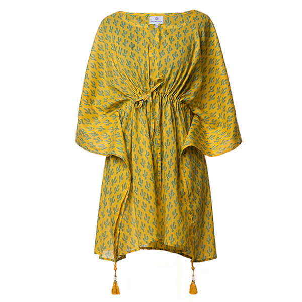 Prickly Pax Marigold Cactus Short Kaftan Dress
