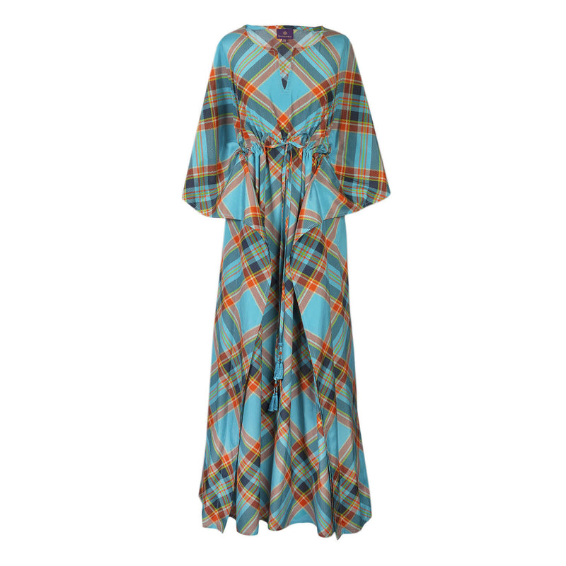 Puccini Plaid Italian Silk/Cotton Maxi Dress