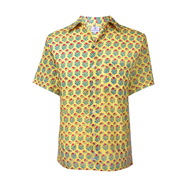 Jaipur Yellow Short Sleeve Men's Button Up Shirt