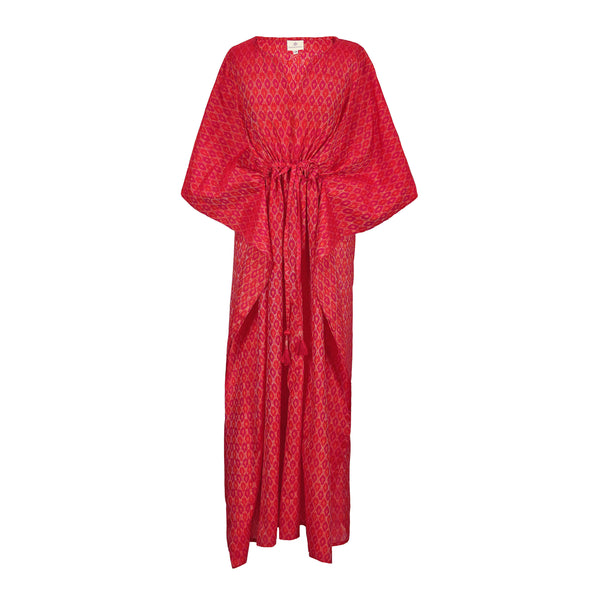 Romantica Red Silk/Cotton Ikat Maxi Kaftan Dress Hand Woven 25% Off Applied at Checkout ONLY ONE AVAILABLE