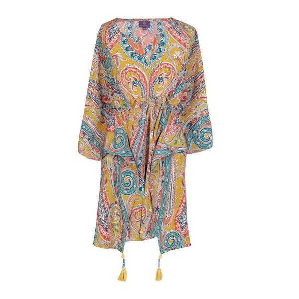 Saffron Principessa Italian Silk Short Kaftan Dress