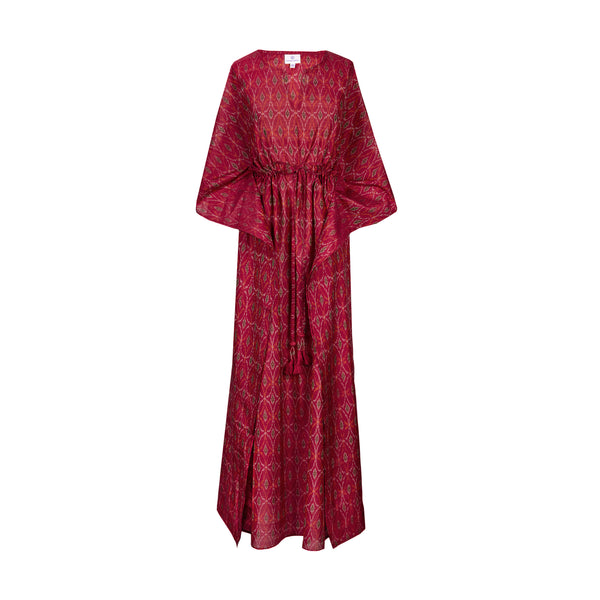 Regina Red Green silk cotton Ikat ONLY ONE AVAILABLE 25% off discount applied at checkout